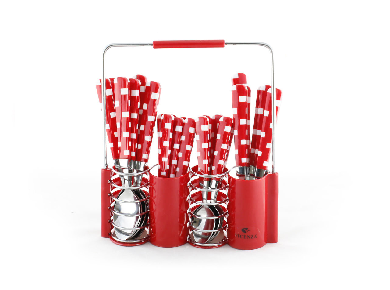 Jual Vicenza Sendok Set Warna Polkadot Vicenza Merah Toko Source · Stainless Steel Cutlery Set V240C